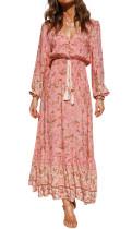 R.Vivimos Women's Fall Cotton Long Sleeve V-Neck Button Up Tie Waist Floral Print Boho Midi Dress