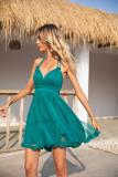 R.Vivimos Womens Summer Halter Deep V Neck Sexy Patchwork Mini Short Dresses