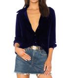 R.Vivimos Women Velvet Tops Sexy Blouses Long Sleeve V-neck Button Down Casual Shirts