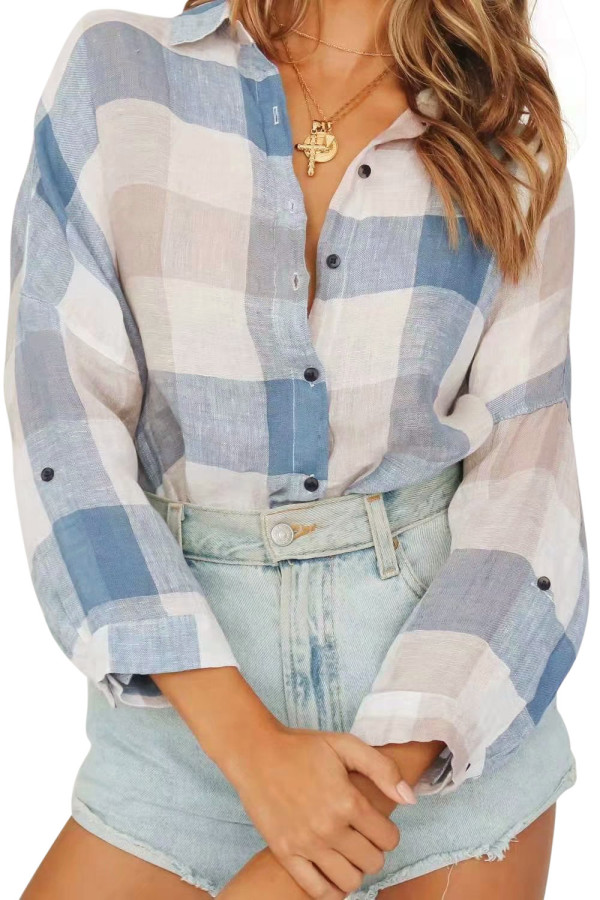 R.Vivimos Women's Linen Long Sleeves Casual Loose Classic Plaid Roll Up Button Down Shirts