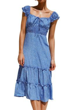R.Vivimos Women's Summer Cotton Short Sleeves Square Neckline Print Ruffled Boho Midi Dress