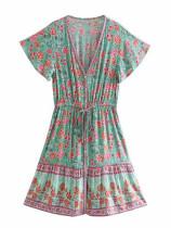 R.Vivimos Women's Summer Cotton Short Sleeves V-Neck Floral Print Button Up Boho Mini Dress