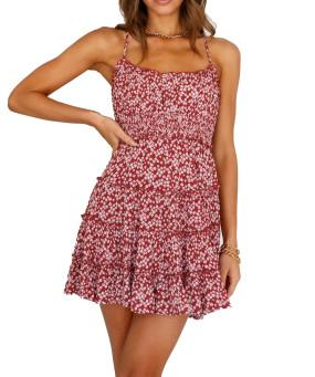 R.Vivimos Women's Summer Cotton Spaghetti Straps Ruffled Hem Boho Floral Print Mini Dress