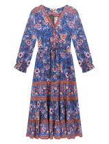 R.Vivimos Women's Summer Cotton Long Sleeves V-Neck Casual Buttons Floral Print Boho Flowy Midi Dress