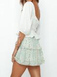 R.Vivimos Womens Summer Cotton Puff Shorts Square Neckline Ruffle Peplum Crop Blouse Top