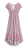R.Vivimos Womens Summer Short Sleeve V Neck Backless Cotton Floral Flowy Dress