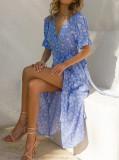 R.Vivimos Women's Summer Cotton Floral Puff Sleeves Casual V-Neck Boho Slit Wrap Midi Dress