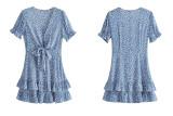 R.Vivimos Women's Summer Cotton Deep V-Neck Short Sleeves Floral Print Ruffles Boho Mini Dress
