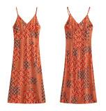 R.Vivimos Women's Summer Cotton V-Neck Spaghetti Straps Floral Print Backless Midi Dress