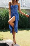 R.Vivimos Women's Summer Cotton V-Neck Spaghetti Straps Floral Print Backless Slit Boho Midi Dress