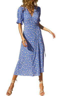 R.Vivimos Women's Summer Cotton Floral Puff Sleeves Casual V-Neck Boho Slit Wrap Midi Dress