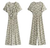 R.Vivimos Women's Summer Cotton Deep V-Neck Short Sleeves Ruffles Floral Print Boho Pant Jumpsuit Romper