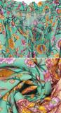 R.Vivimos Women's Summer Cotton Floral Puff Sleeves Casual Boho Drawstring Button Up Midi Dress