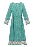 R.Vivimos Women's Long Sleeves Cotton Floral Print Button Up V-Neck Tie Waist Boho Maxi Dress