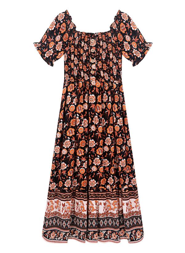 R.Vivimos Women's Summer Cotton Floral Print Short Sleeves Off-Shoulder Midi Flowy Dress