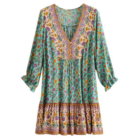 R.Vivimos Women's Summer Cotton Long Sleeves Casual Boho V-Neck Buttons Floral Print Mini Tunic Dress