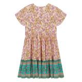 R.Vivimos Womens Short Sleeve Floral Print V Neck Cotton Short Dresses
