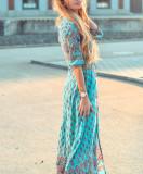 R.Vivimos Women's Summer Button Up Floral Print Split Beach Maxi Dresses