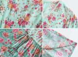 R.Vivimos Women's Summer Cotton Flare Sleeves Button Down Casual Floral Boho Flowy Mini Dress