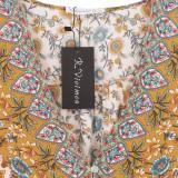 R.Vivimos Women's Summer Cotton Long Sleeves Casual Boho V-Neck Buttons Floral Print Mini Tunic Dress