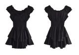 R.Vivimos Women's Summer Cotton Puff Sleeves Layered Ruffles Casual Boho Swing Mini Dresses