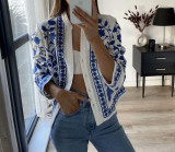 R.Vivimos Women's Summer Fall Cotton Long Sleeves Button Down Floral Embroidery Casual V-Neck Coat Jacket
