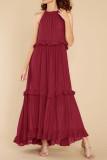 R.Vivimos Womens Summer Dress Cotton Sleeveless Halter Layered Ruffles Casual Boho Flowy Maxi Dress