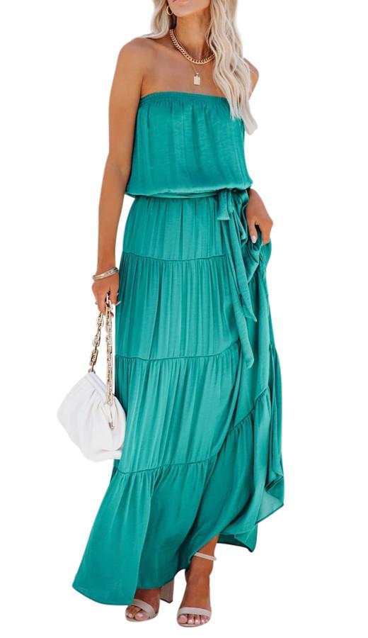 R.Vivimos Women's Summer Cotton Tube Strapless Casual Boho Sleeveless Maxi Dress with Belt