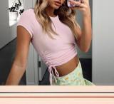 R.Vivimos Women's Fall Long Sleeve T Shirts Ruched Drawstrings Knit Stretchy Slim Crop Tops