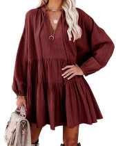 R.Vivimos Womens Fall Cotton Long Sleeve Casual Loose V-Neck Swing Tunic Mini Dress