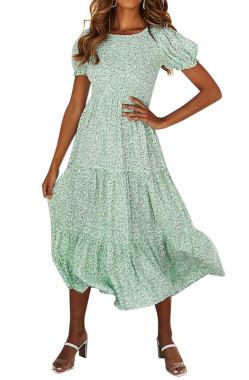 R.Vivimos Women's Summer Cotton Puff Sleeves Floral Print Round Neckline A-Line Boho Flowy Midi Dress