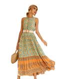 R.Vivimos Women's Summer Sleeveless Floral Print Button Up Bohemian Flowy Maxi Dresses