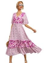 R.Vivimos Women's Short Sleeve V Neck Cotton Beach Floral Buttons Midi Dresses