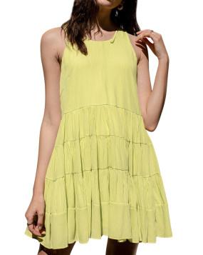 R.Vivimos Summer Dress for Women Cotton Sleeveless Boho Casual Swing Flowy Tunic Mini Dress