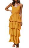 R.Vivimos Women's Summer Cotton Spaghetti Straps V-Neck Layered Ruffle Hem Boho Swing Midi Dress