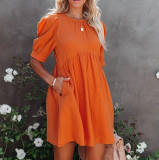 R.Vivimos Summer Dress for Women Cotton Puff Sleeves Boho Casual Loose Babydoll Mini Dress with Pockets
