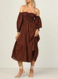 R.Vivimos Summer Dress for Women Cotton Plaid Puff Sleeves Boho Off-Shoulder Casual Ruffled Flowy Midi Dress