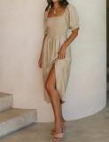 R.Vivimos Summer Dress for Women Cotton Plaid Puff Sleeves Causal Off-Shoulder Boho Side Slit Midi Dress