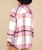 R.Vivimos Womens Casual Plaid Lapel Button Down Long Sleeve Shirts Shacket Jacket Coat for Autumn Winter