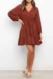 R.Vivimos Womens Long Sleeve Cotton V Neck Boho Casual Button Down Skater Ruffled A Line Dress for Fall Winter
