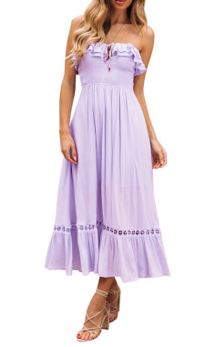 R.Vivimos Womens Summer Cotton Spaghetti Straps V-Neck Ruffle Casual Boho Midi Flowy Dress
