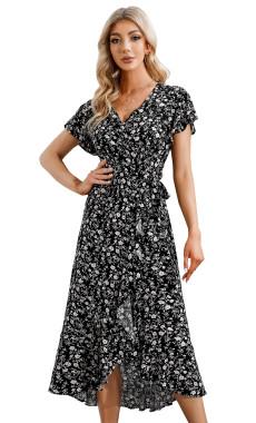 R.Vivimos Women's Summer Cotton Short Sleeve Irregular Dots Ruffles Wrap Flowy Midi Dress