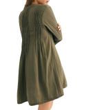R.Vivimos Women's Tunic Dress Fall Linen Button Down Long Sleeves Casual Mini Shirt Dress