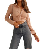 R.Vivimos Womens Fall Long Sleeves Collared Button Down Shirts Ruched Tie Waist Slim Blouse Crop Tops