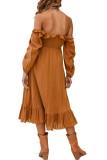 R.Vivimos Women's Linen Fall Long Sleeves Stripes Ruffled Boho Casual A-Line Flowy Midi Dresses