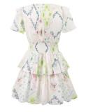 R.Vivimos Women's Summer Dress Chiffon Tie V-Neck Boho Short Sleeves Layered Ruffled Floral Print Causal Sexy Mini Dress
