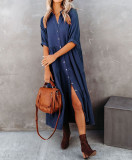 R.Vivimos Women's Summer Cotton Half Sleeves Button Down Casual Loose Slit Midi Dress with Pockets