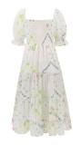 R.Vivimos Women's Summer Dress Chiffon Boho Puff Sleeves Ruffle Floral Print Causal Off Shoulder Split Midi Dress