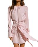 R.Vivimos Women's Satin Dress Long Sleeve Casual Wrap Ruched Tie Waist Party Mini Dress