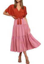 R.Vivimos Women's Fall Cotton Long Sleeves Irregular Polka Dot V Neck Casual Flowy Midi Dress